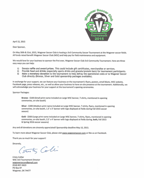 3v3 sponsor letters sent wagoner soccer we have sent letters to local businesses if you didnt receive one and would like to donate or sponsor the 3v3 tournament email wagonersoccergmail or altavistaventures Images